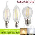 LightInBox E14 E27 220 V 2 W 4 W Edison Retro Antiguo Filamento Bulbo LLEVADO Luz clara de cristal Cáscara de La Vendimia Lámpara de La vela