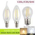 LightInBox E14 E27 220 V 2 W 4 W Edison Retro Shell LEVOU Luz Filamento Da Lâmpada Antiga de vidro transparente Do Vintage Lâmpada Da vela