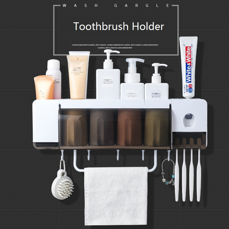 Creative Toothbrush Holder With Toothpaste Squeezer And Cups For 2 3 4 Persons Bathroom Storage Rack Nail Free Mount