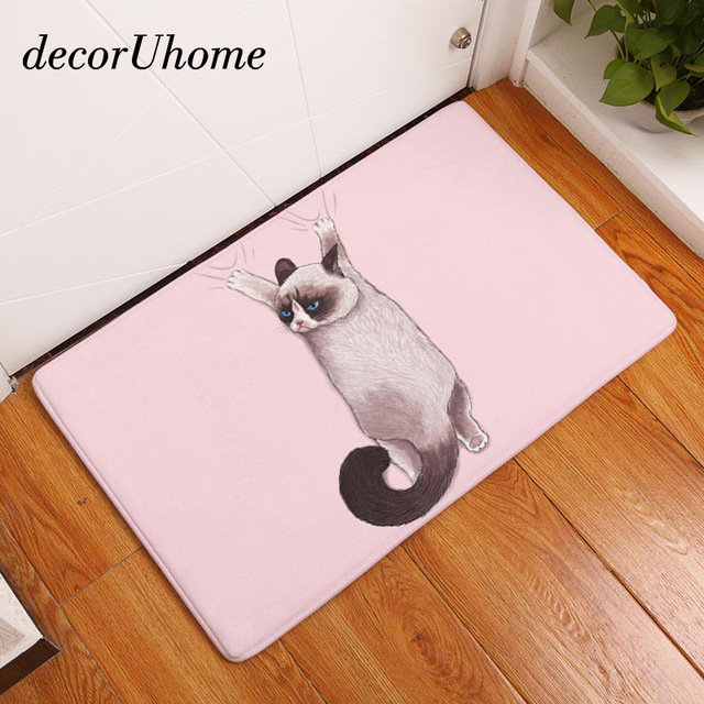 Decoruhome flanel waterdichte deur mat mooie cartoon perzische kat ...