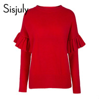 Sisjuly Women Knitted Sweater Solid Red Round Neck Long Sleeved Patchwork Slim Sweet Falbala Sleeve Pullovers