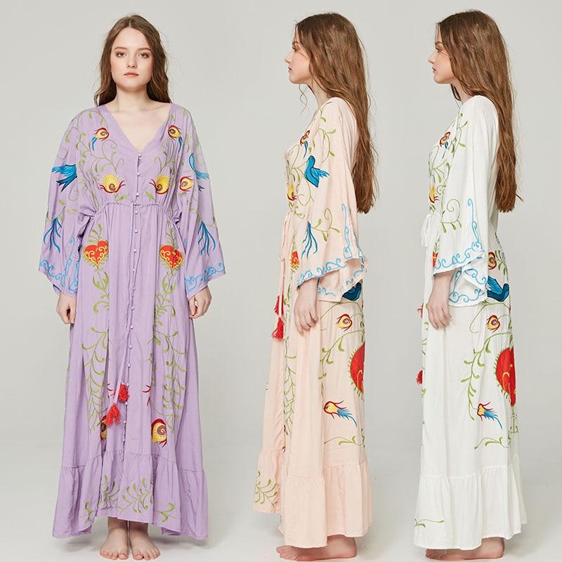 Jastie 2018 Spring Autumn Women Dress Loose Casual Kimono Dresses Floral embroidered Maxi Dress Boho Ruffle Hem Beach Dresses