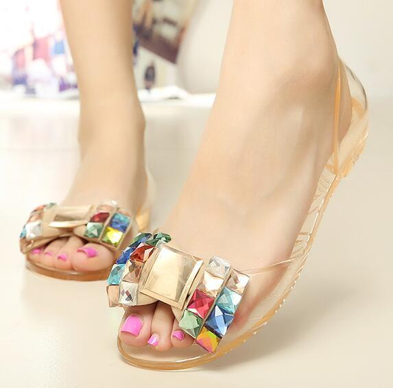 9c8e27ed105c Eilyken Women Sandals Summer Style Bling Bowtie Jelly Shoes Woman Casual Peep  Toe Sandal Crystal Flat Shoes Size 35-40