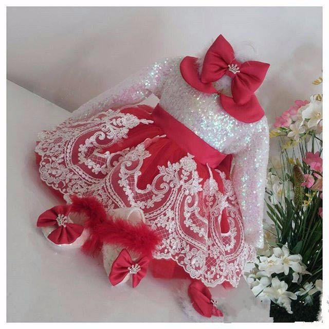 Cute New Long Sleeve White Lace Red flower girl dresses with Bow baby Birthday Party Dress toddler girl pageant dress ball gowns toddler girl dresses chinese new year lace embroidery flowers long sleeve baby girl clothes a line red dress for party spring