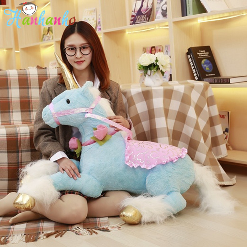 100CM Giant Unicorn Plush Toy Kids Riding Horse Stuffed Big Animal Kids Party Birthday Gift hi ce new arrival mechanical horse kawaii animal ride on horse lion rode on horse kids toy for children adult new year gifts