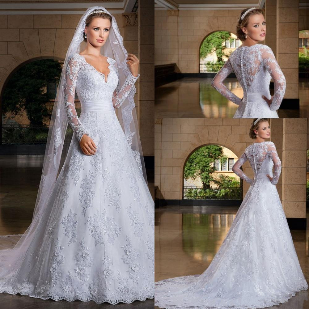 2019 A-Line See Through Back Long Sleeve Wedding Dress With Lace Appliques Bridal Gowns Custom Made Custom Made Elegant