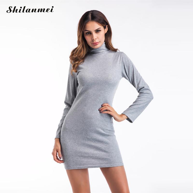 Turtleneck Elegant Knitted Dress Long Sleeve Bodycon Dress slim Fashion Clubwear Night Wear Women 2017 Robe Sexy Party Vestidos turtleneck long sleeve dress