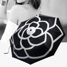 Sunshade Umbrellas Camellia Folding Rain Uv-Sun-Transparent Women High-Quality Luxury