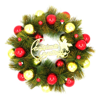 1PC Christmas Ball Pine Needles Wreath Artificial Pendant Drop Ornaments Crafts Christmas Decorations For Home Xmas Gifts D40cm