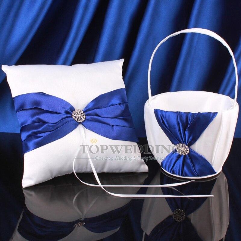 Wedding Party Royal Blue Satin Cryatal Ribbon Wedding Flower Girl Basket