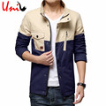 Men Jacket Zipper Button Up Patchwork Pockets Casual 2016 Rib Sleeves Spring Brand New High Quality Men's Brand Clothing YN635