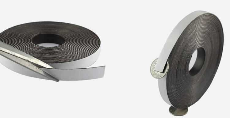 Купить с кэшбэком 2 Meters self Adhesive Flexible Magnetic Strip 3 M Rubber Magnet Tape width 10mm 15mm 20mm 30mm thickness 1mm