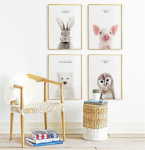 Animals Bear Wall Art Nordic Poster Rabbit Pictures For Living Room Pig Canvas Painting Picture Owl Print Home Decor Unframed