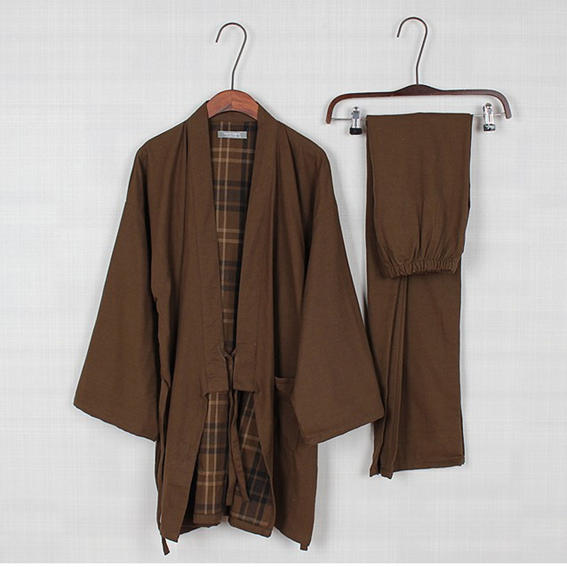 Men's Kimono Pajamas Set Cotton Sleepwear Double Layer Gauze Sleepwear Mens Lounge Kimono Pyjamas Trousers Tracksuit