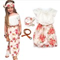Cinco bears Girls Summer 4pc Clothes Set Kids White Top and Girl flower Skirt with Bow Children Suits girl clothing set flowers