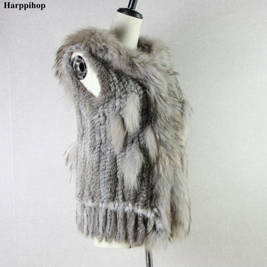 Harppihop fashion rabbit fur vest raccoon fur trimming knitted rabbit fur vest with hood fur waistcoat