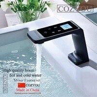 Интеллектуальные постоянный контроль температуры светодиодный сенсорный экран смешанные Робине LED бассейна кран, латунь, черный масло мат