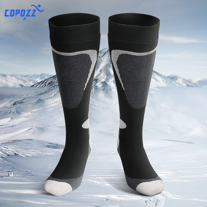 COPOZZ Ski Socks Thick Cotton Sports Snowboard Cycling Skiing Soccer Socks Men & Women Moisture Absorption High Elastic Socks cbaooo c40w bluetooth headphone wireless bluetooth headphones sports headset magnetic earphone with microphone for phone xiaomi