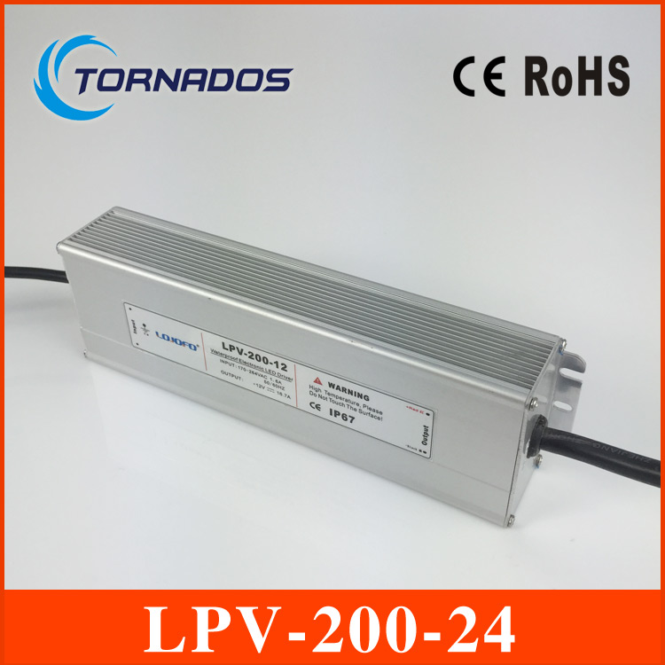 LPV-200-24 LED Waterproof power supply constant voltage led driver 200W output 24V, 8.3A meanwell 24v 60w ul certificated lpv series ip67 waterproof power supply 90 264v ac to 24v dc