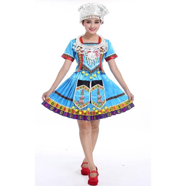 Saia plissada traje roupas traje de dança para Senhoras das mulheres Hmong roupas Miao roupas para mulheres por atacado e varejos Com Chapéu