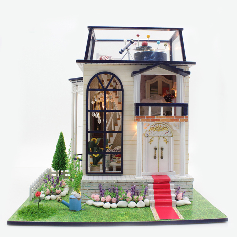 DIY DollHouse Miniature With Furnitures LED Light Wooden Doll House Model Toys Creative Gift The Princes Rose 13837 #E
