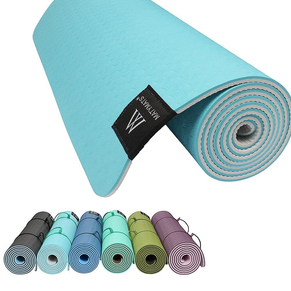 Matyamts TPE Yoga Mat 183CM*6mm Non slip Sport Mat Pad Fitness Yoga Gym Exercise Pilates Workout Portable Yoga Mat