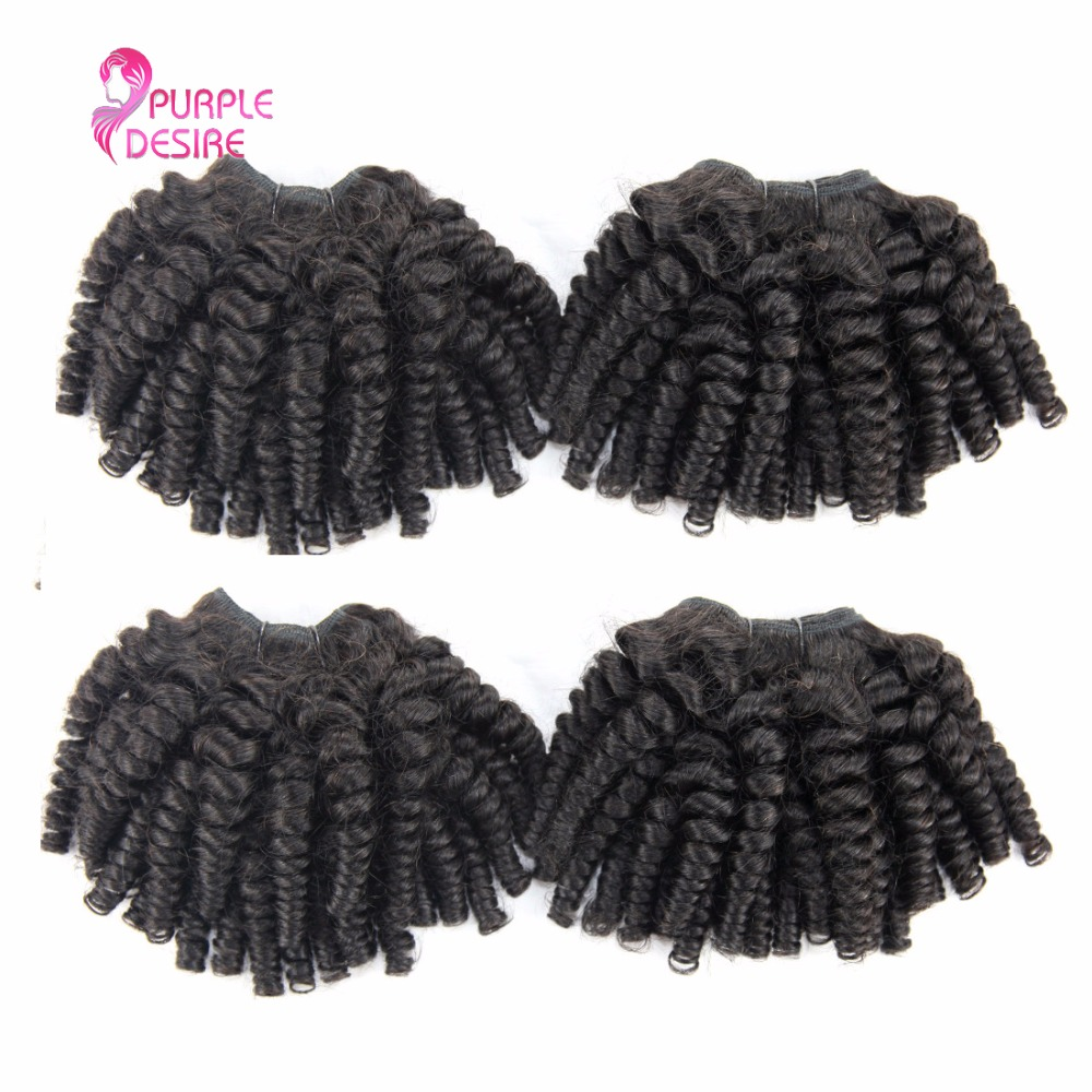 4 Bundles Indian Fummi Hair Natural Color Bouncy Curly Human Hair Weave Non Remy Hair Extensions 8-30Inch No Shedding