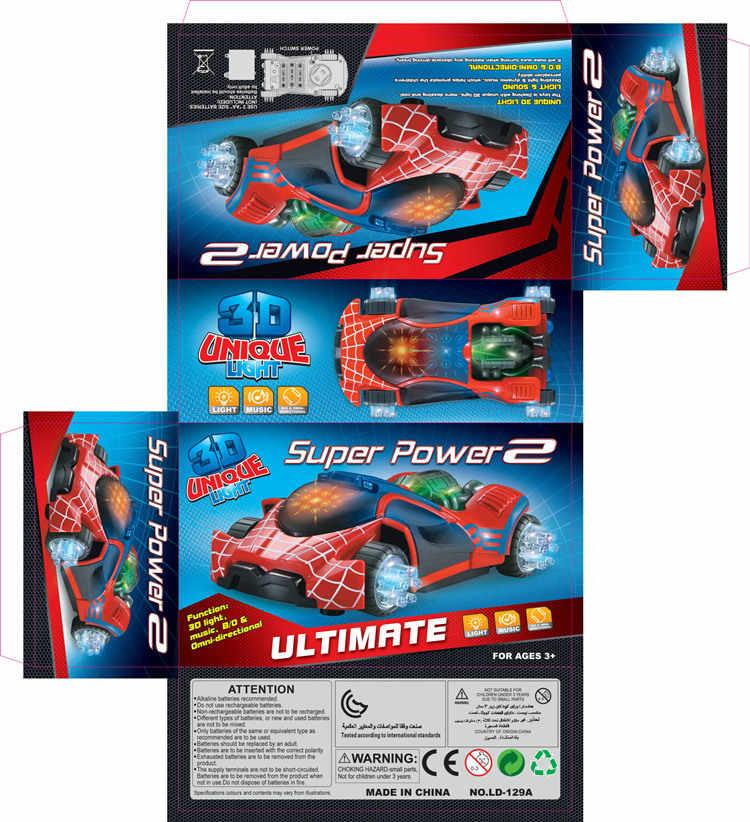 Süper güç 3D hafif müzik flaş elektrikli evrensel örümcek adam araba oyuncak LED ışıklı ses söndürme aracı oyuncaklar çocuklar çocuk hediye