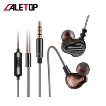цена на CALETOP F6 In Ear Earphone With Microphone  Dynamic Driver Unit Headsets Stereo Sports HIFI Subwoofer Earphones Monitor Earbuds