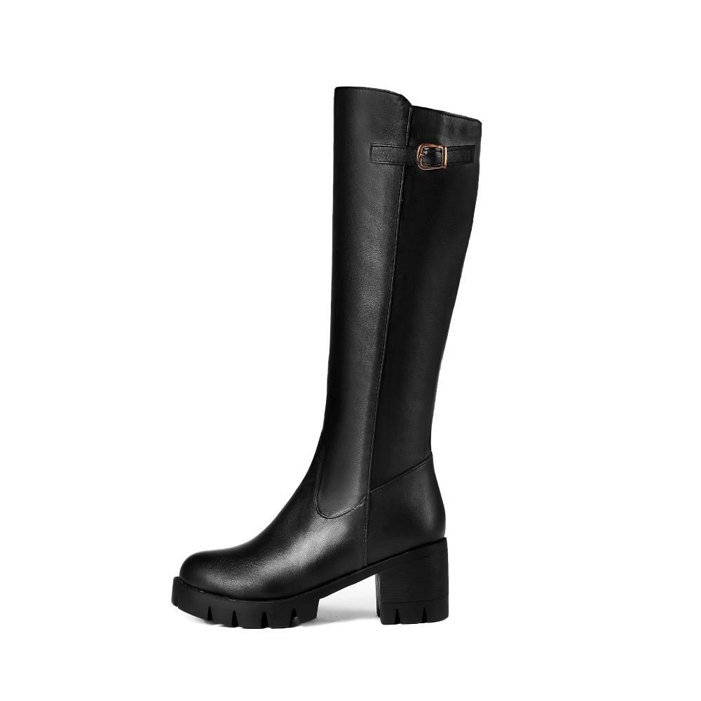 Zapatos Negro Botas Mujer Alto Alta Ronda Toe Negro Nieve De Cdpundari Del Rodilla Tacón Invierno marrón Plataforma fvx4RwqpWA