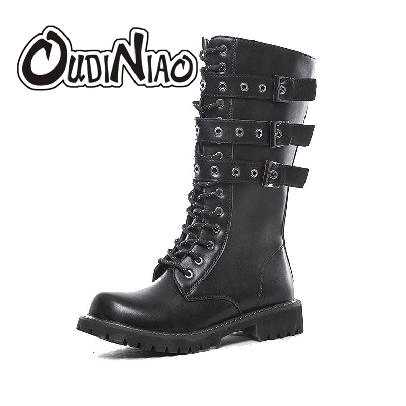 OUDINIAO Zipper Army Boots Men High Military Combat Boots Metal Buckle Mid Calf Male Motorcycle Boots