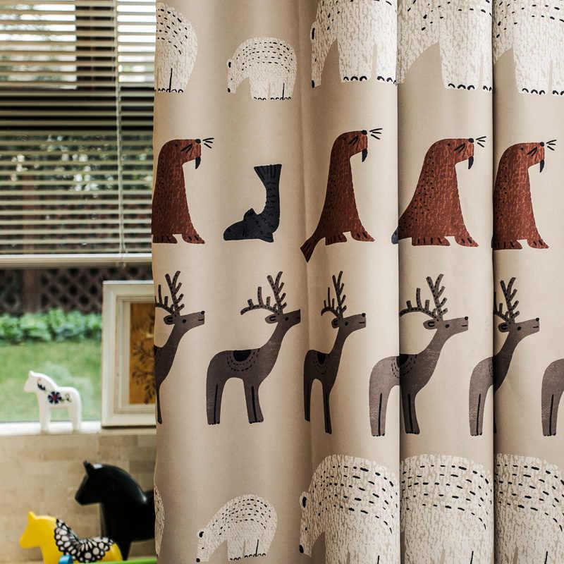 Занавеска в Северную Европу с рисунком белого медведя и оленя, детская комната, гостиная, полный светильник, занавеска для мальчиков и девочек M023