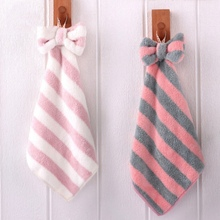 1PC Cute Stripes Hanging Hand Towel Kitchen Dish Cloth with Tie Strongly Absorbent Coral Velvet Towel for Hands Dishcolth coral velvet bathroom supplies soft hand towel absorbent cloth dishcloths hanging lint free cloth kitchen accessories