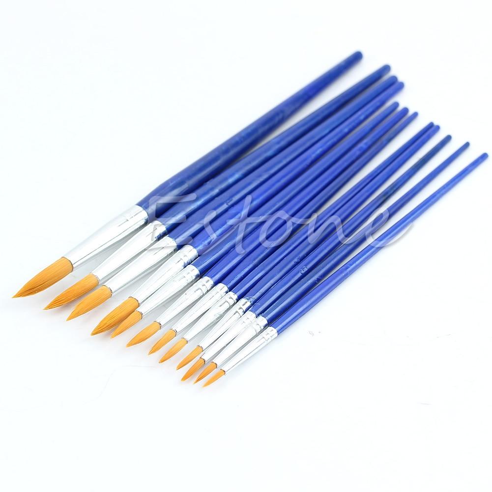 Bleu Assorties Taille Nylon nail art Artisanat jeu de pinceaux de peinture À L'huile À L'aquarelle 12 pièces