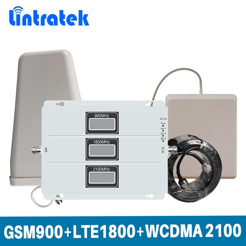 Lintratek LCD Display Tri Band Signal Repeater 2G GSM 900 /4G LTE 1800/3G WCDMA 2100 MHz Mobile Signal Booster Full set Antenna