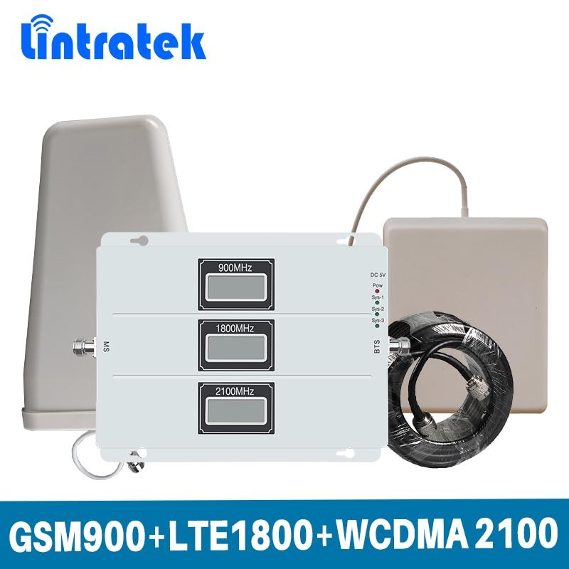 Lintratek pantalla LCD Tri Band repetidor de señal 2G GSM 900/4G LTE 1800/3G WCDMA 2100 MHz señal móvil Booster conjunto completo antena