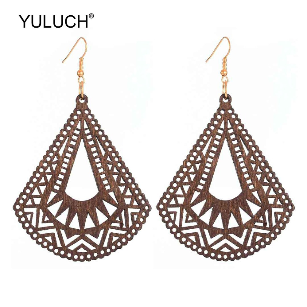 YULUCH 2019 Ethnic Wooden 4 Colors Hollow Long Pendant Drop Earrings Indian Women Statement Hanging Earrings Jewelry Accessories