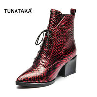 Snakeskin Pattern Genuine Leather Thick High Heel Riding Boots Women Fashion Lace Up Pointed Toe Winter