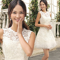 Fashion The Bride Summer Dresses Short Design Female Bridesmaid Dress Lace 2016 New Style Empire A-line