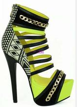 Stylish Black White Geometric High Weels Platform Sandals Womens Peep Toe Mixed Colors Gold Chain Cut-out Dress Shoes Plus Size round geometric cut out arm chain
