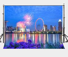 150x220cm Singapore City Night View Backdrop Sky Wheels Colorful Fireworks Photography Background Party Studio Props