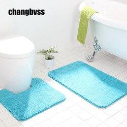 2pcs/set Bathroom Mats Set Memory Foam Rug Kit, 50*50CM Toilet Pattern Bath Pads Non-slip Floor Carpet Mat for Bathroom Decor