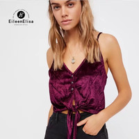 Eileen Elisa Button Tank Top Women 2017 Sexy Cropped Velvet Tank Tops Vest Blouse Sleeveless Crop