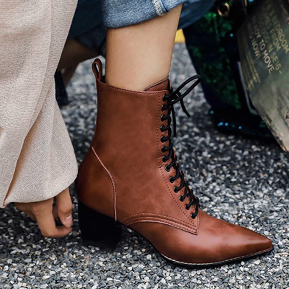 Meotina Vrouwen Natuurlijke Lederen Laarzen Winter Wees Teen Hoge Hak Laarzen Rits Mode Lace Up Motorlaarzen Bruin Maat 34 -39
