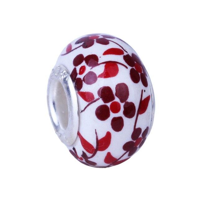 14mm Argent Grand Trou céramique Plat Rond Charmes Perle Ajustement Européen Bracelet bricolage 10 pièces perles pour la fabrication de bijoux TK016
