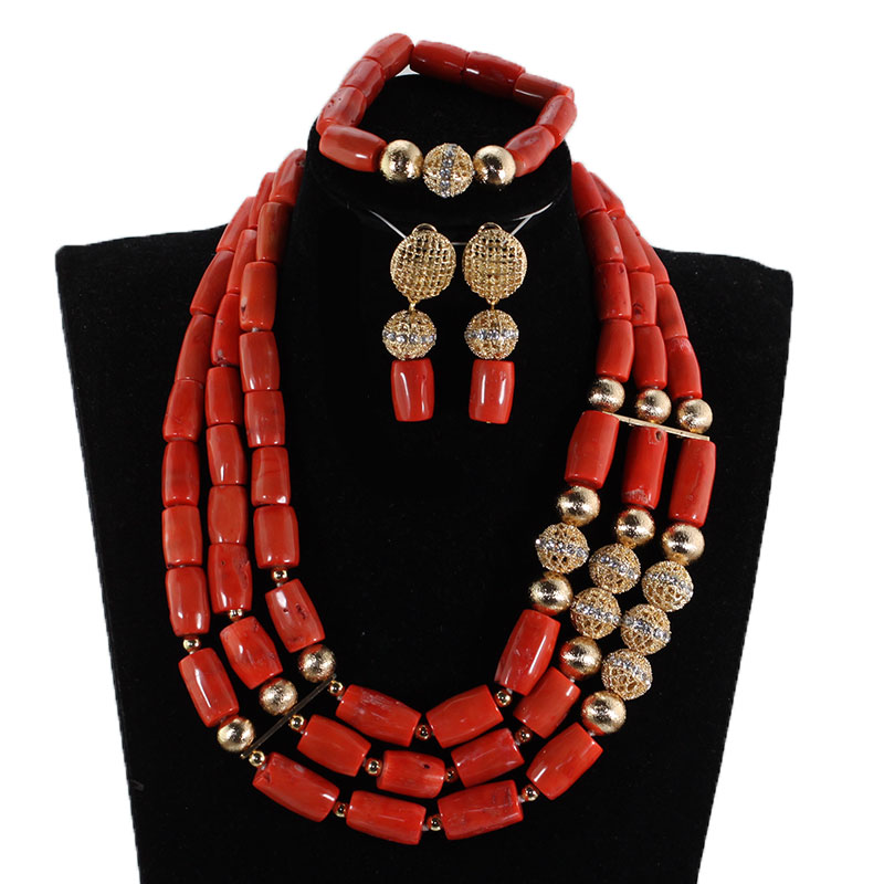 Jewelry-Set Coral 3-Layers Original Beads Brides Nigerian Wedding Gold Fashion Gift And