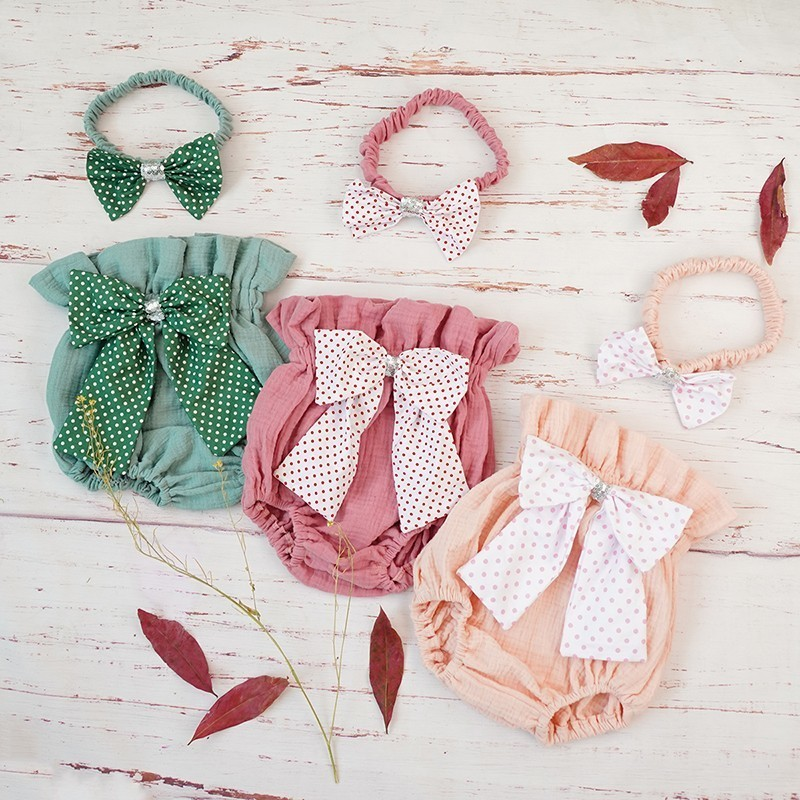 Cotton Baby Girl Bloomer Shorts Summer New Bowknot Toddler Diaper Cover Headband Set Bubble Newborn Baby Pants Clothes Spodenki