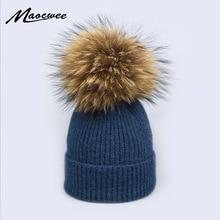 Шапка с помпоном из натурального меха енота, толстая зимняя женская шапка, вязаная шапка из кашемира и шерсти, женская шапка Skullies Beanies
