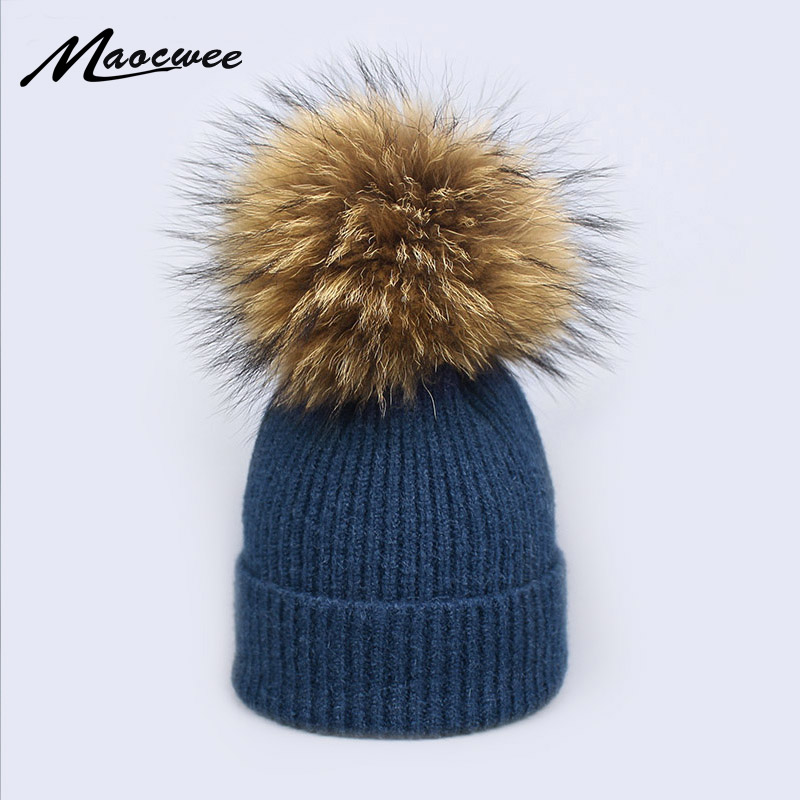 2018 Natural Raccoon Fur Pompon Hat Thick Winter for Women Cap   Beanie   Hats Knitted Cashmere Wool Caps Female   Skullies     Beanies