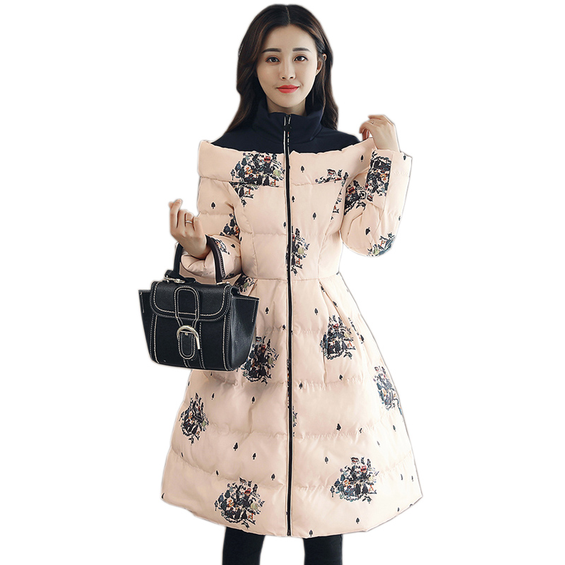 Long Print Parka Women Winter Jacket 2017 New Down Cotton Padded Coat Hooded Thicken Warm Print Overcoat For Female QW703 long parka women winter jacket plus size 2017 new down cotton padded coat fur collar hooded solid thicken warm overcoat qw701